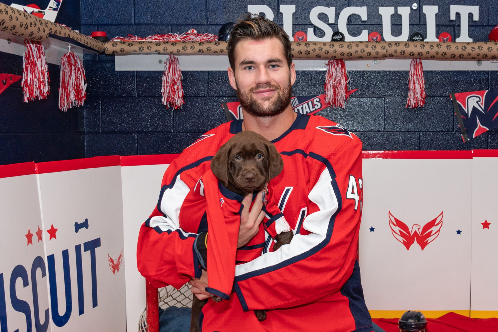 washington capitals service dog in the arms of a player