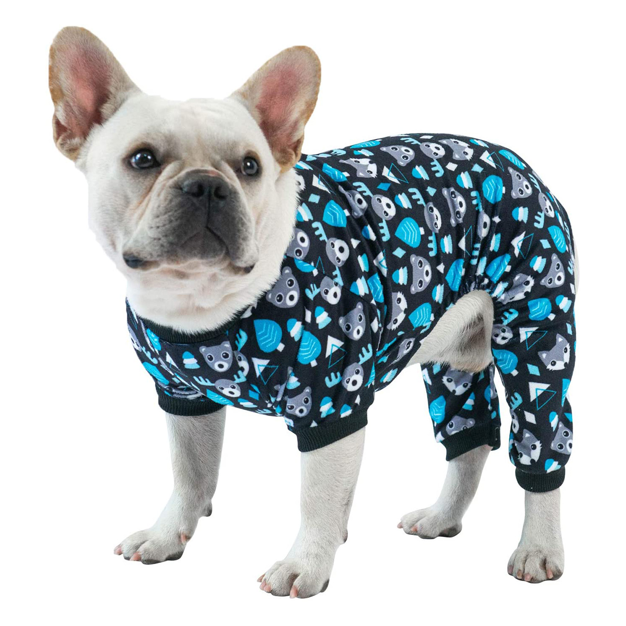 Dog wearing a CuteBone Onesie Pajamas for Puppies on a white background