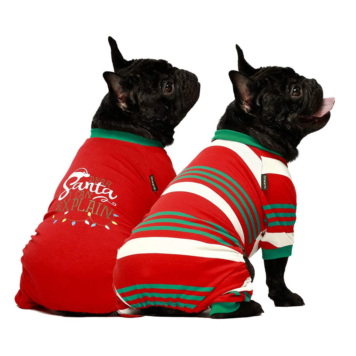 Two dogs wearing Fitwarm Dear Santa, I Can Explain Two-Pack Matching Dogs Christmas Pajamas on a white background