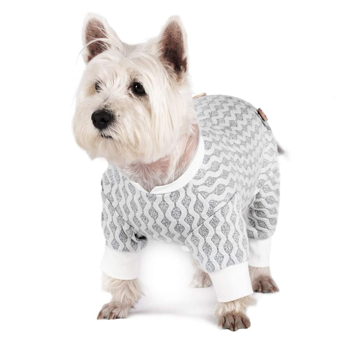 Dog wearing a KYESSE Stretchable Dog Pajama Jumpsuit on a white background
