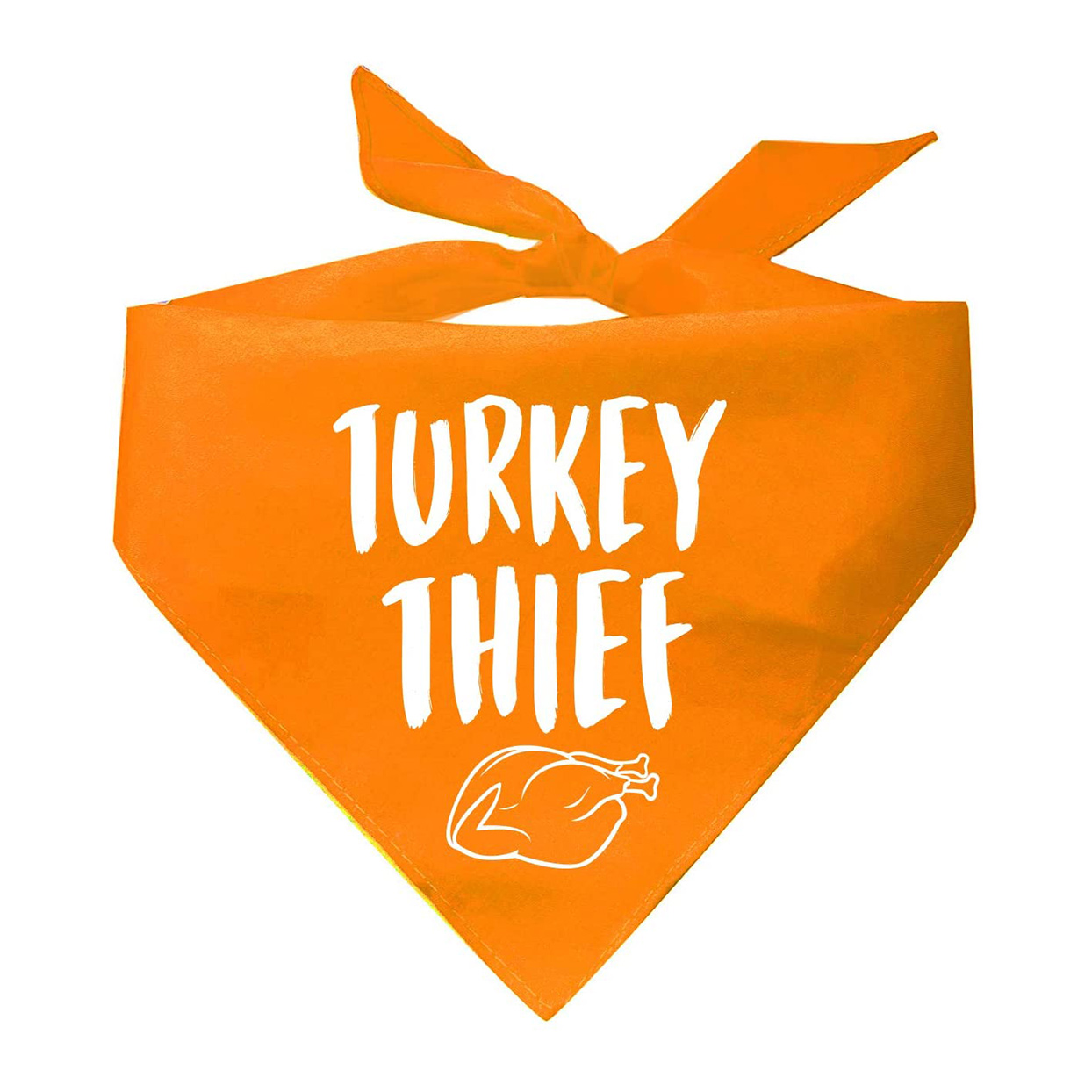 Photo of a Tees & Tails Turkey Thief Thanksgiving Day Bandana on a white background