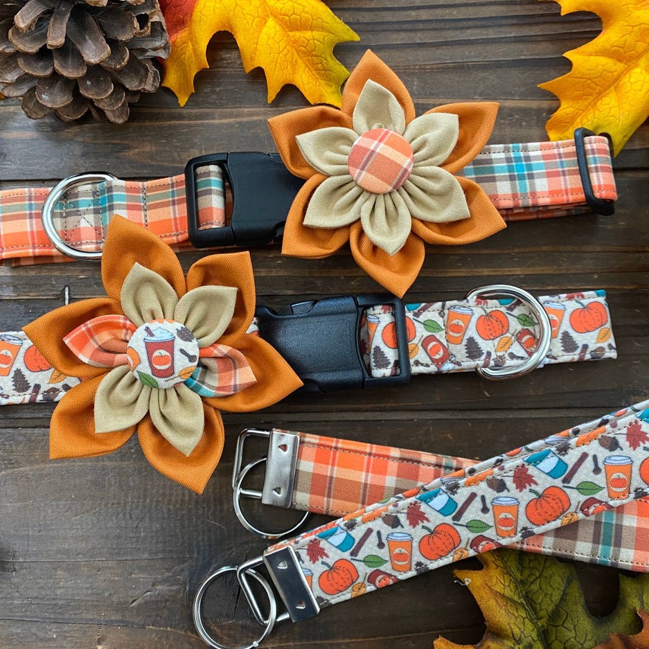 Photo of ChicPoochBoutique Pumpkin Spice Everything Dog Collars with Flower on a wooden tabletop