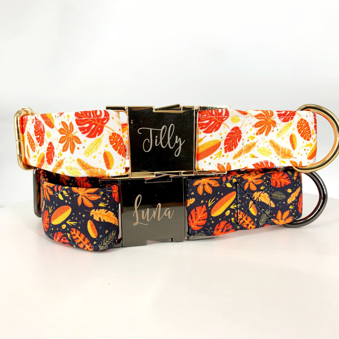 Photo of TagPup Autumn Leaves Dog Collars on a gray background