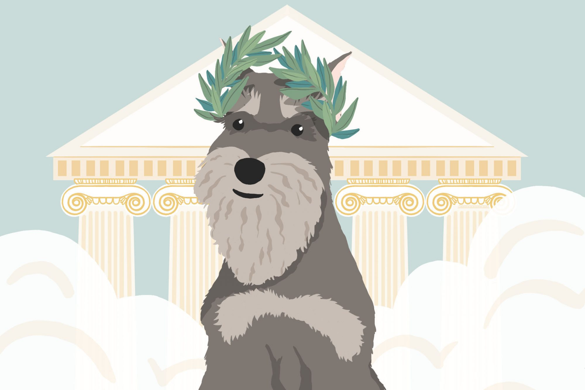 illustrations of a dog looking like a greek god with greek columns behind him