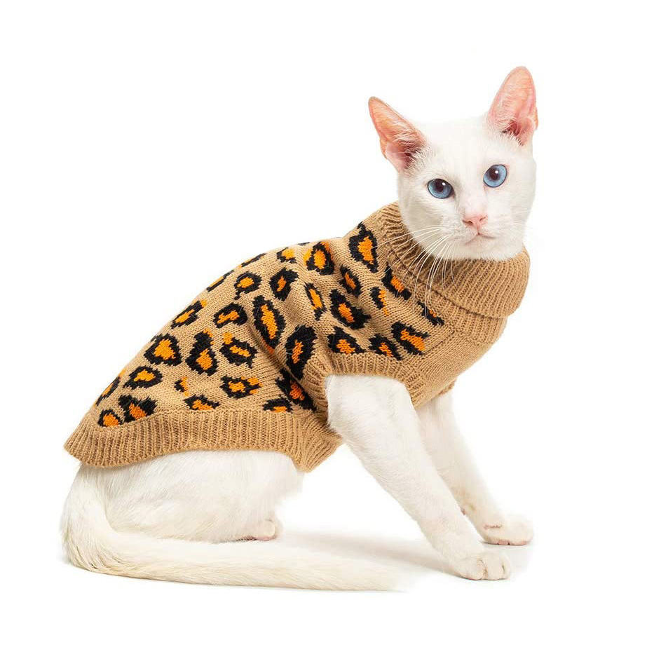 White cat wearing a Mihachi Winter Leopard Warm Cat Sweater on a white background