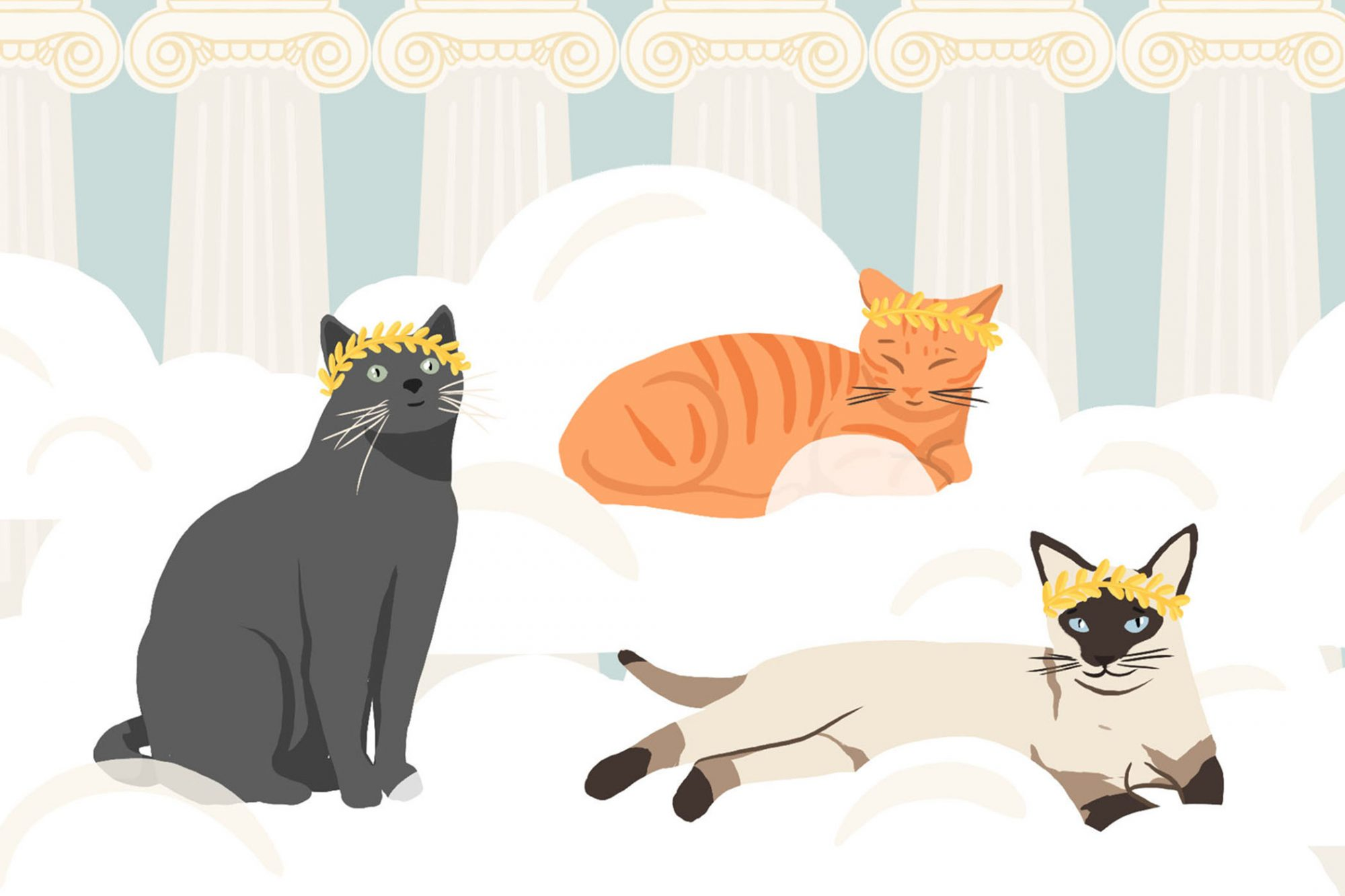 illustration of three cats with goddess leaf headbands sitting in clouds in front of greed columns