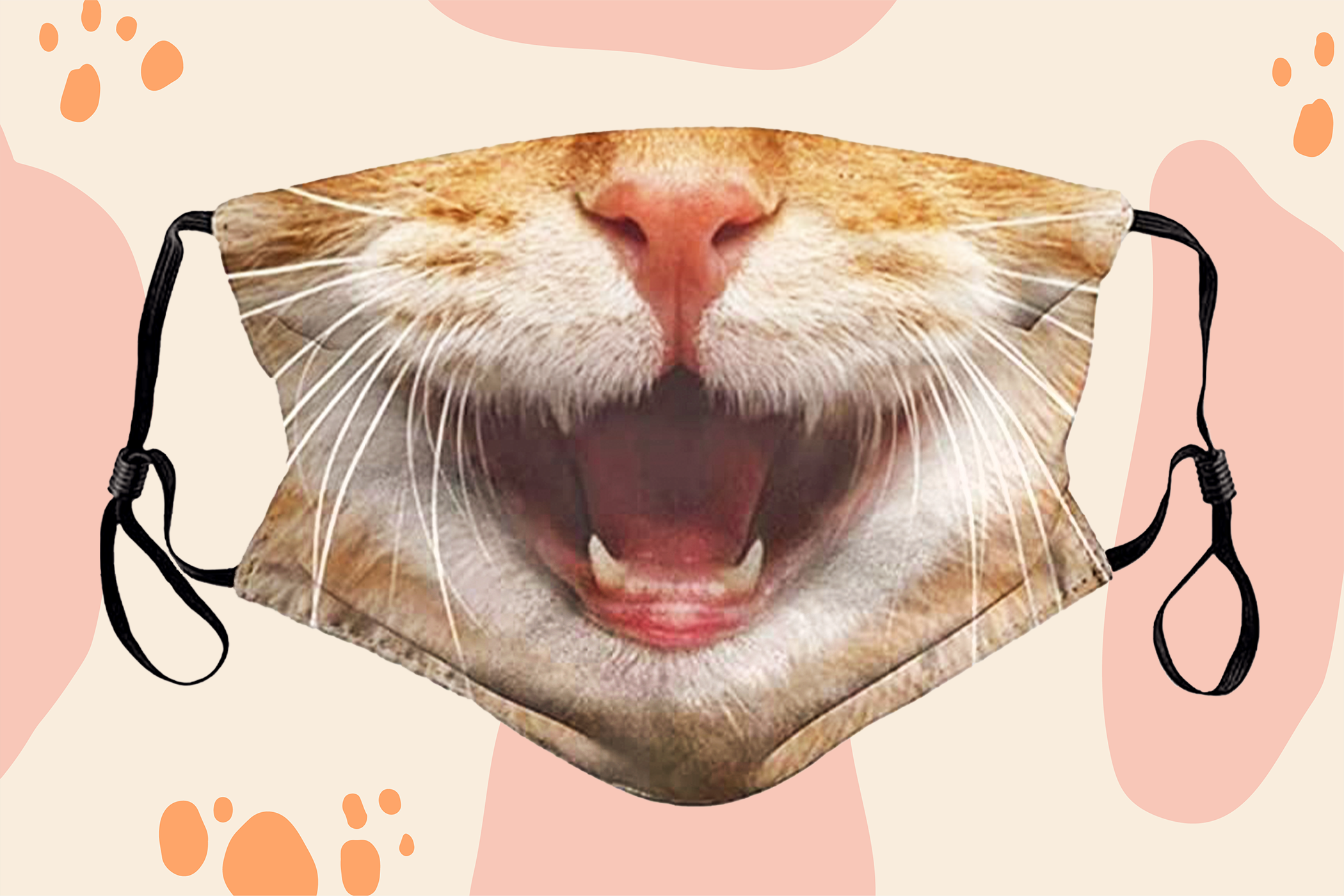 cat face mask of an orange cat with mouth open