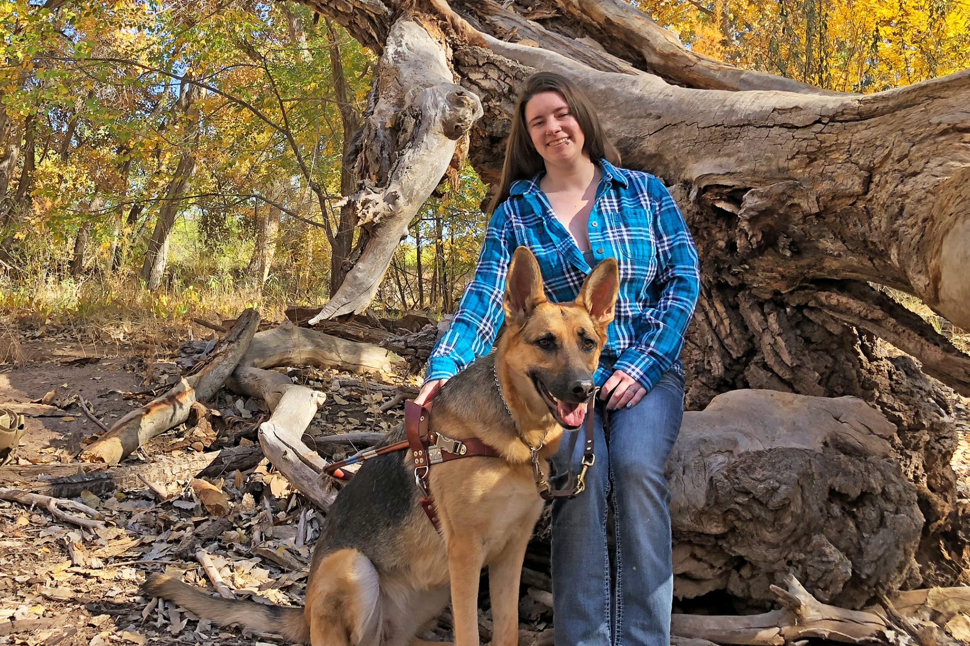 henna, the guide dog of the year with his owner, Meagan