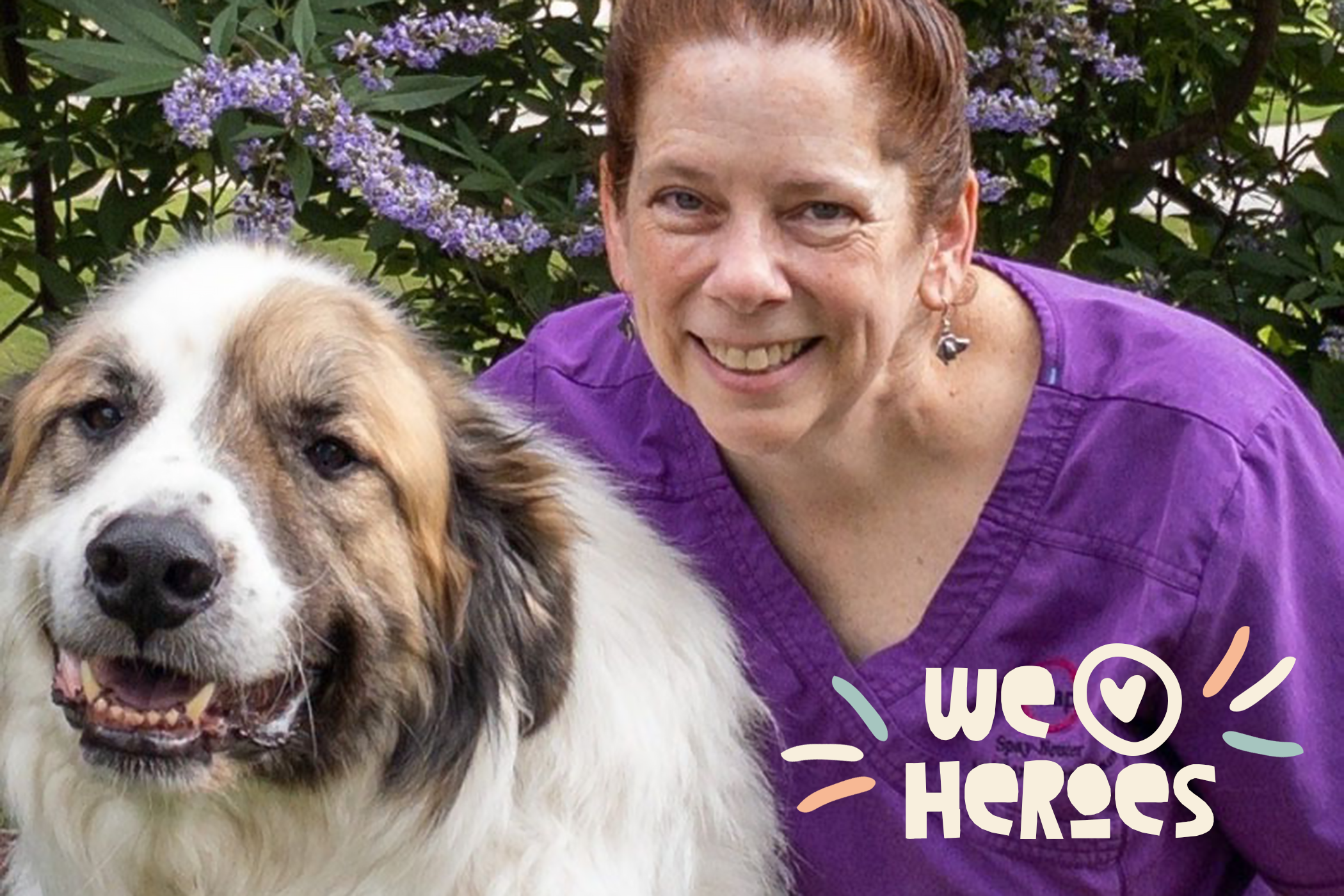 Dr. Mary Kate Lawler, the winner of the 2021 American Humane Hero Veterinarian Award, with her dog