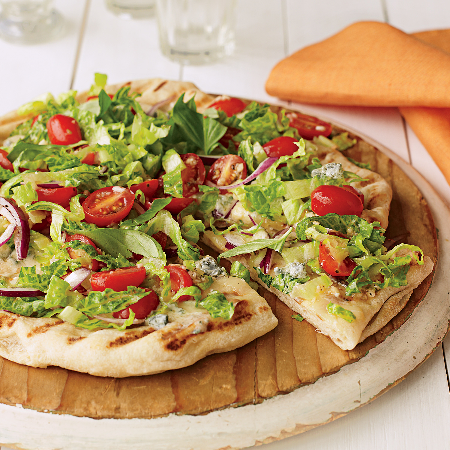 Blue Cheese, Lettuce and Tomato Pizza