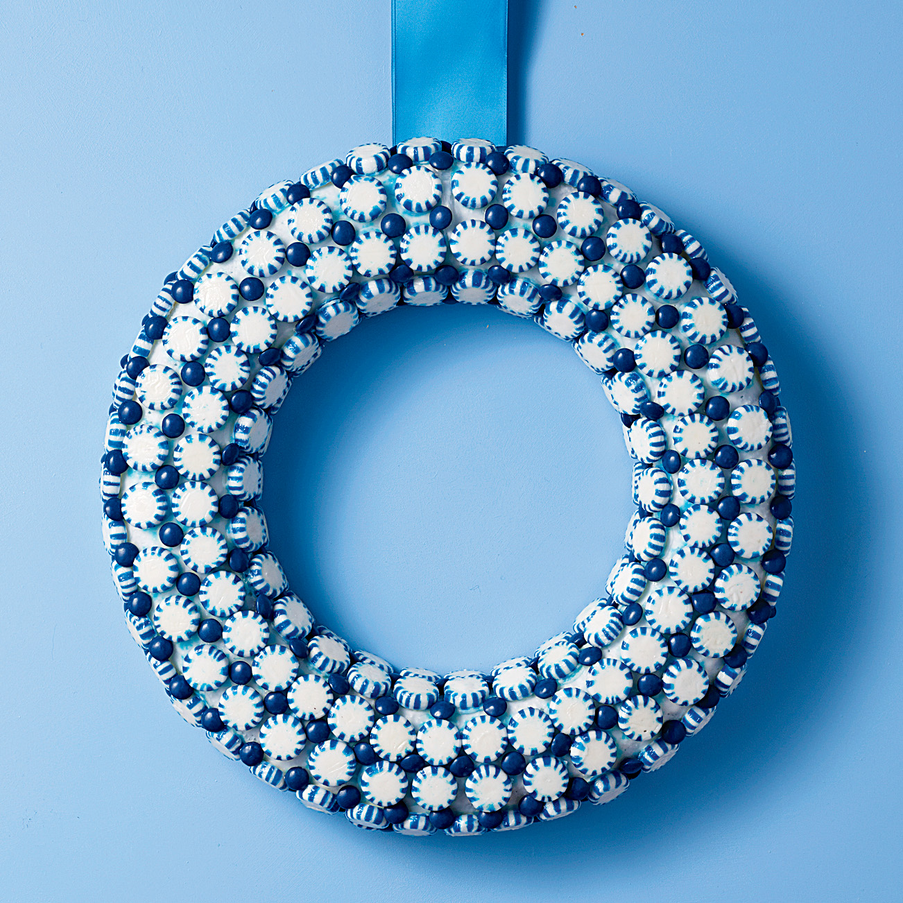 blue peppermints candy wreath