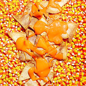 """Candy Corn """"Queso"""" with Chips"""