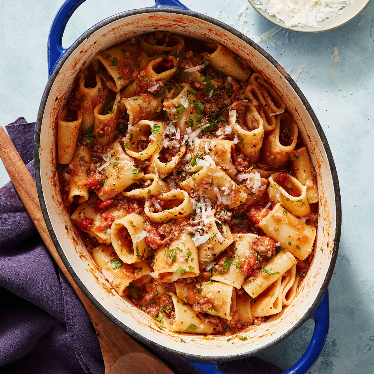 Charred Eggplant & Meat Sauce with Paccheri