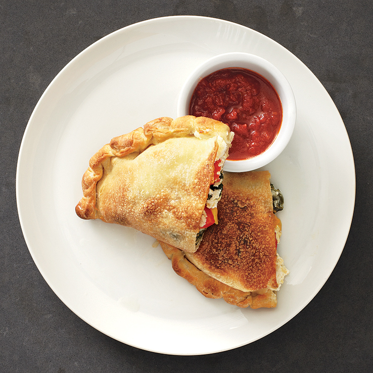 Cheesy Spinach-and-Pepper Calzones