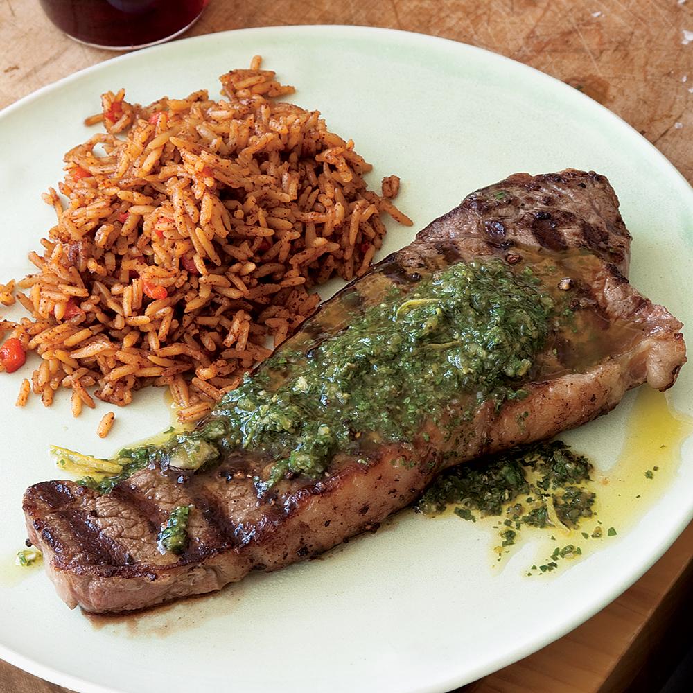 Chili Pilaf with Steak and Chimichurri