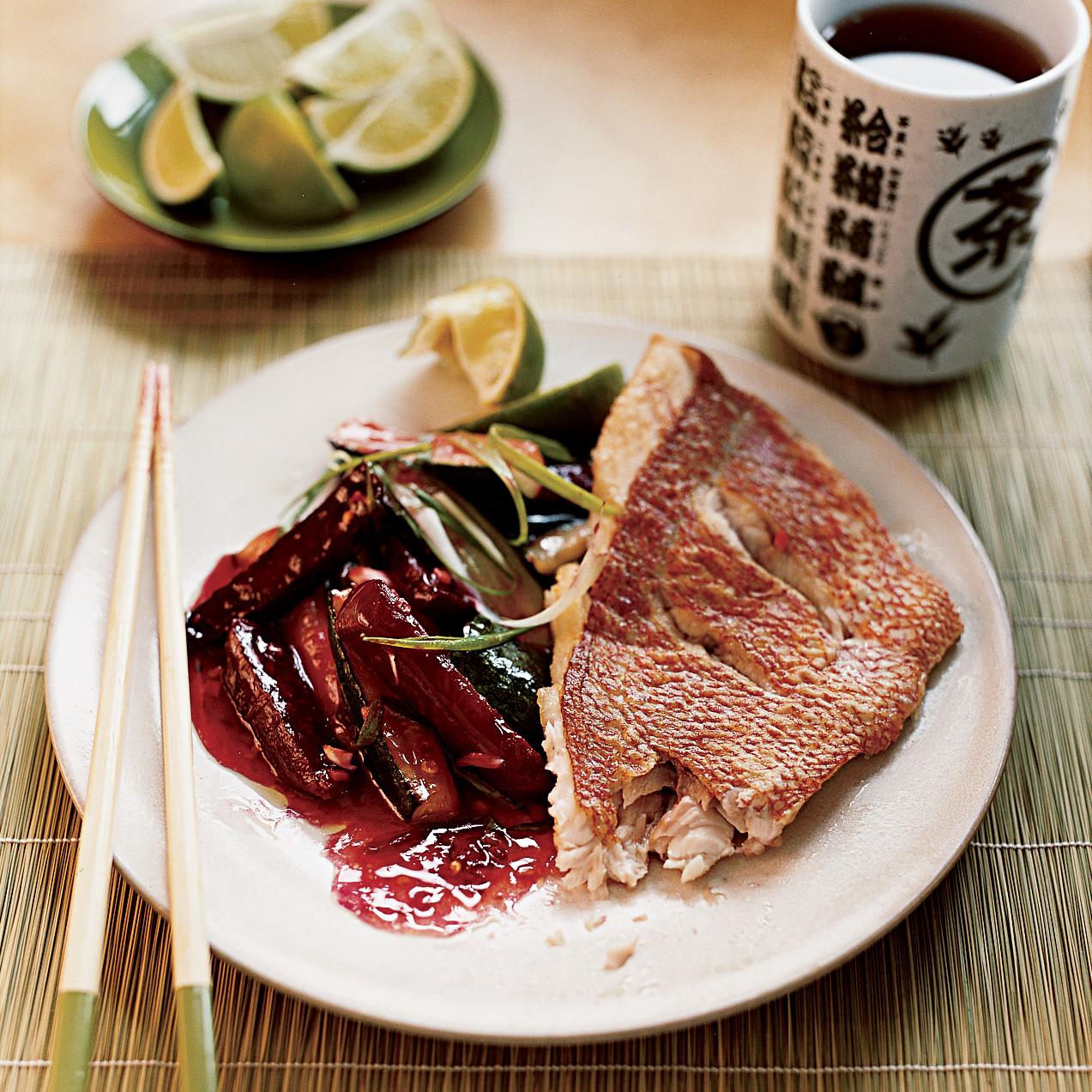 Crisp Red Snapper and Winter Stir-Fry Vegetables