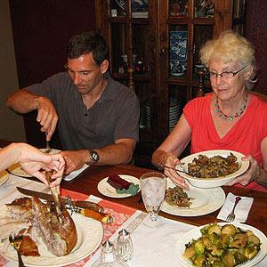 Eating Thanksgiving dinner