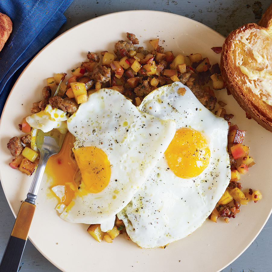 Fancy Sweet Sausage-and-Apple Hash with Calvados