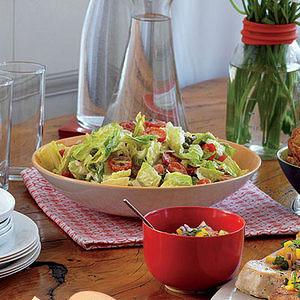 Greek-Style Bread Salad with Creamy Lemon-Caper Dressing