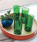 green glasses on platter