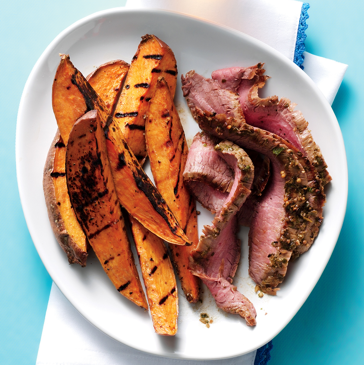 grilled flank steak with chimichurri and sweet potato wedges