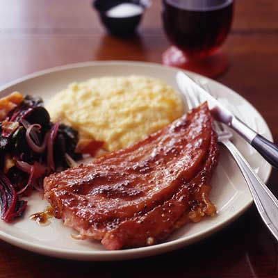 ham and grits with silverware