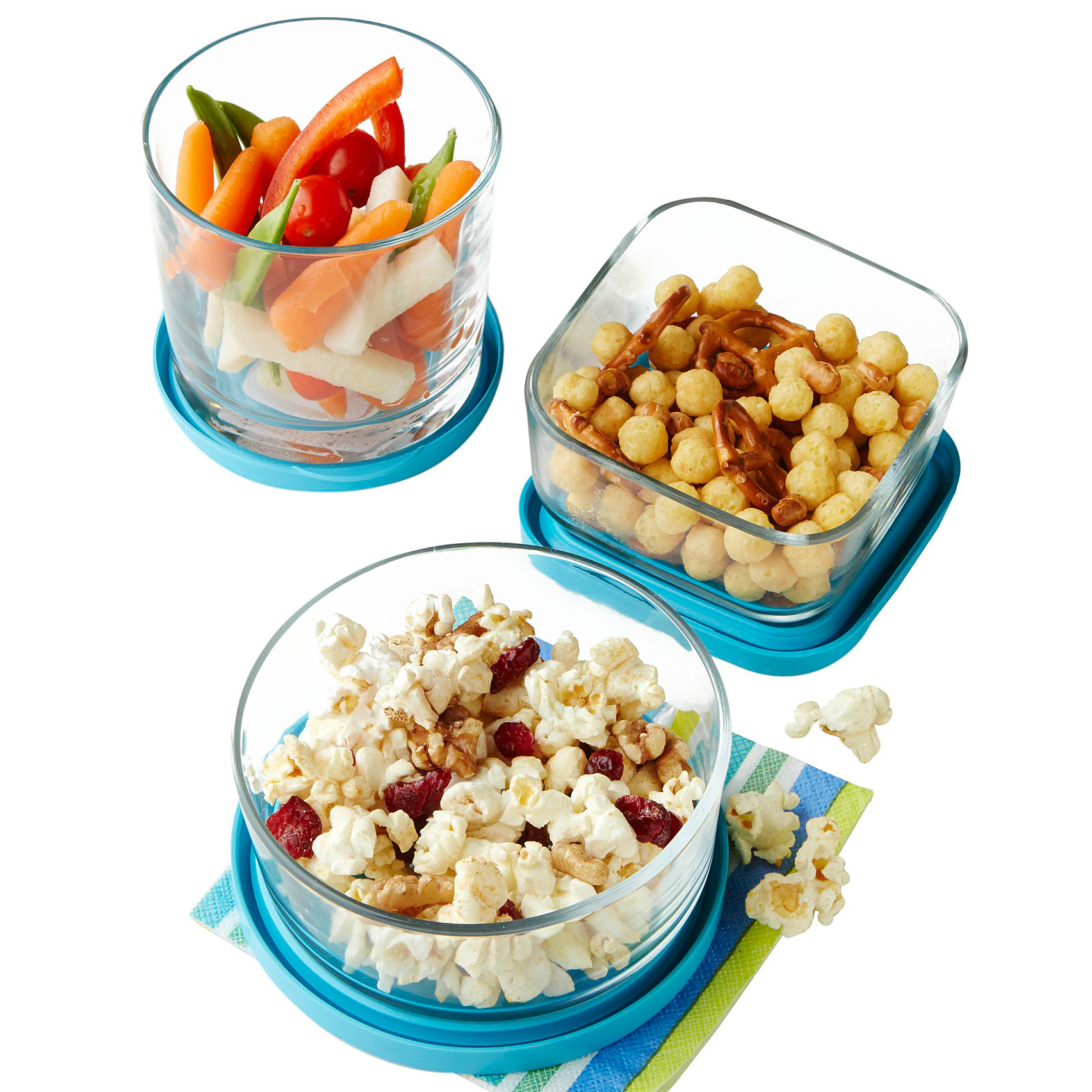 healthy snacks in containers, veggies, popcorn mix, trail mix