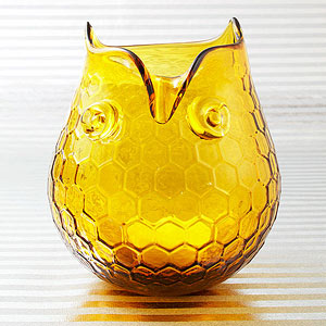 Owl glass votive holder