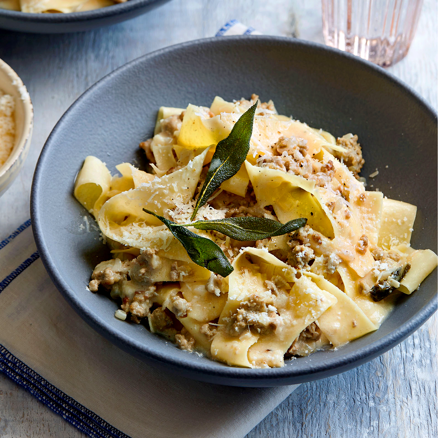 pappardelle with brown butter meat sauce and crispy sage