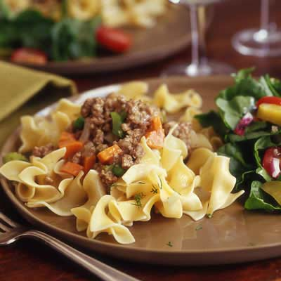 Pasta dish with meat sauce