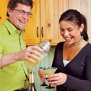 Rachel and Friend have Margaritas