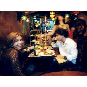 Rachel at restaurant with John
