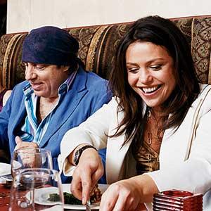Rachel with Friend at Restaurant