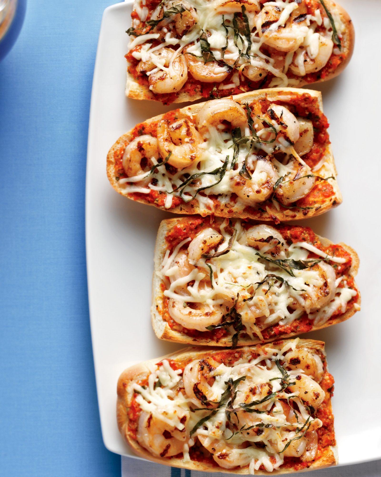 red pepper pesto-and-shrimp pizzas