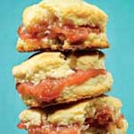 rhubarb jam and biscuits