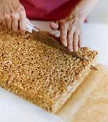 Rice Crispy Treat being cut