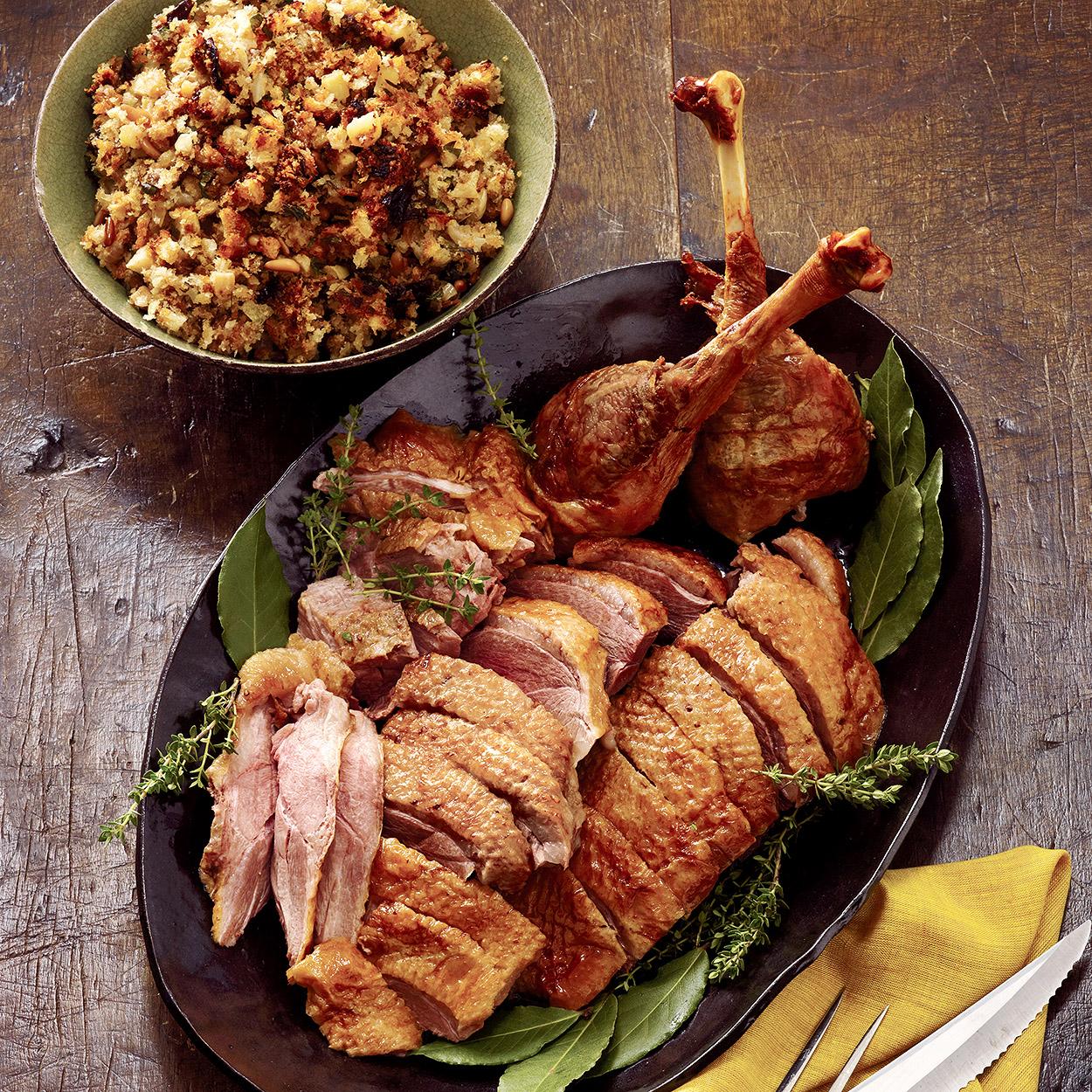 Roast Goose with Fruit-Nut Stuffing