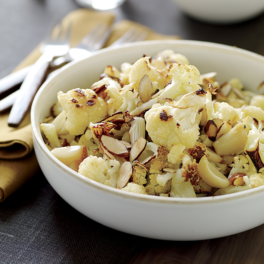 Roasted Cauliflower and Garlic with Toasted Almonds