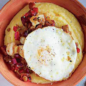 """Sausage-and-Shrimp Hash with """"Grits"""" and Eggs"""