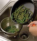 straining green beans