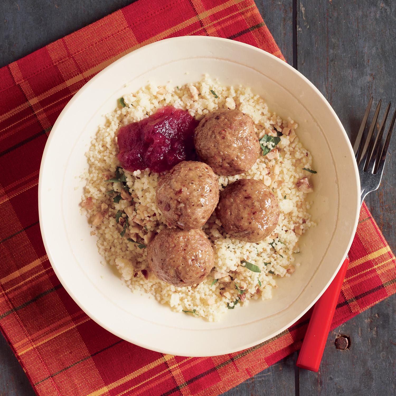 Turkey Sausage Meatballs with Cran-Apple Sauce