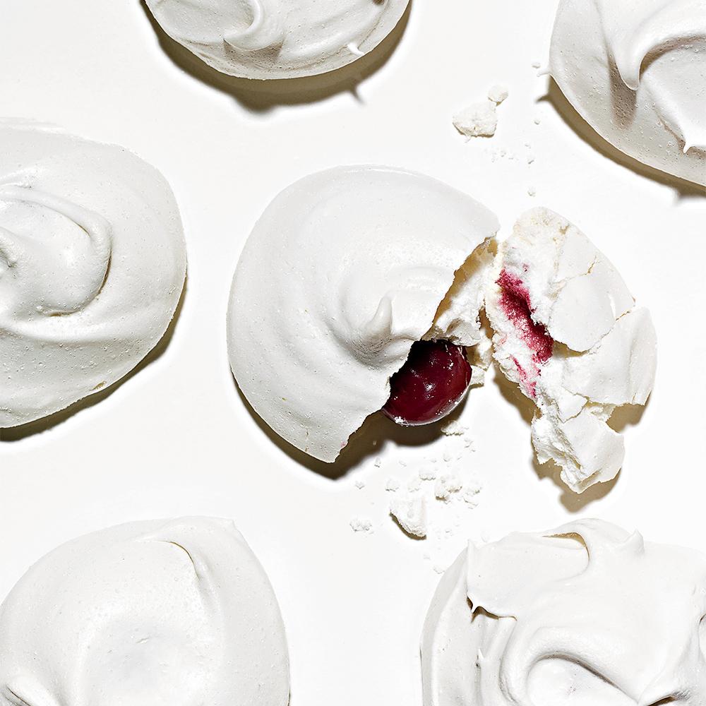 Vanilla Meringues with Sour Cherry Centers