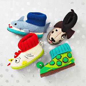 Wool animal children's slippers