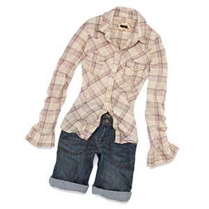 Plaid Shirt and Denim Shorts