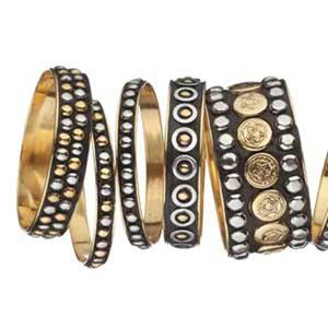 gun metal studded bangles