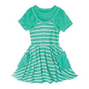 green stripped dress