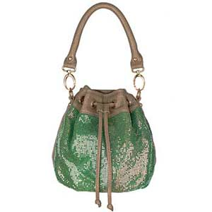 green sequin drawstring handbag