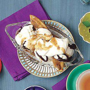 Bananas Foster Split with Bourbon Whipped Cream