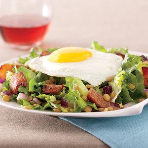 Basted Eggs and Smoky Lentil Salad