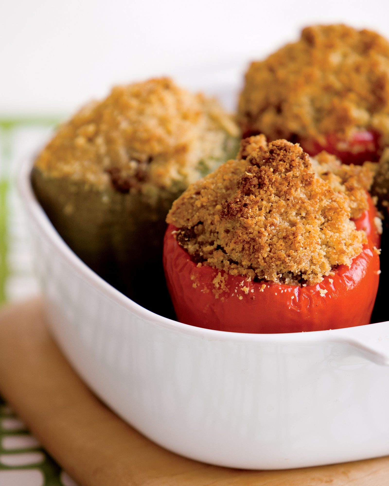 Beef-and-Mashed-Potato-Stuffed Peppers with Garlicky Bread Crumbs